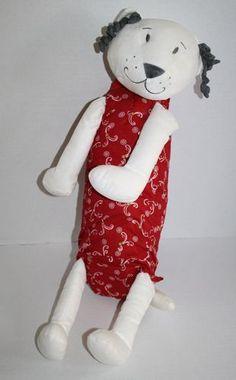 "Ikea Cat red white Gosig Fabler Katt big 22"" plush stuffed Kitty toy gray curls"