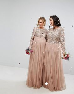 Buy Maya Plus Bridesmaid long sleeved maxi dress with delicate sequin and tulle skirt at ASOS. Get the latest trends with ASOS now. Maternity Bridesmaid Dresses, Winter Bridesmaid Dresses, Modest Wedding Dresses With Sleeves, Girls Maxi Dresses, Bridesmaid Dresses Plus Size, Plus Dresses, Maxi Dress With Sleeves, Modest Dresses, Bridesmaids
