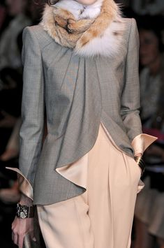 """Love the color combo & jacket cut!  Puhleese, remove the fur ball""!!! Armani Privé"