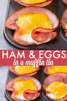 Ham & Eggs in a Muffin Tin – A quick and easy breakfast for a low carb lifestyle! Ham & Eggs in a Muffin Tin – A quick and easy breakfast for a low carb lifestyle! Eggs In Muffin Tin, Muffin Tin Recipes, Muffin Tin Meals, Ham Breakfast, Low Carb Breakfast, Breakfast In Muffin Tins, Health Breakfast, Breakfast Casserole, Brunch Recipes