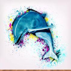 Artsy Dolphin Watercolor https://www.walljungle.com/Artful-Animals?product_id=3810#.UuA06fYo6iY