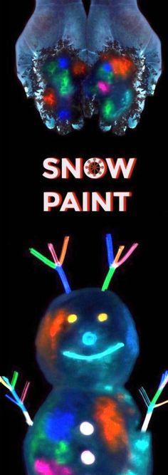 """GLOW-IN-THE-DARK SNOW PAINT FOR KIDS- the """"coolest"""" outdoor winter playtime for kids EVER! (only 2 ingredients) #kids #kidscrafts #wintercrafts #snowpaint #paintrecipes"""
