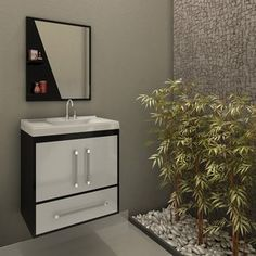 Gabinete para Banheiro com Espelheira Atenas II Móveis Bechara (Acompanha Cuba) Branco / Preto
