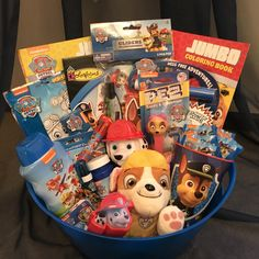 One made to order Paw Patrol Gift Bask. Valentines Day Baskets, Valentine Gifts For Kids, Craft Gifts, Diy Gifts, Homemade Gifts, Paw Patrol Gifts, Creative Birthday Ideas, Easter Gift Baskets, Basket Gift