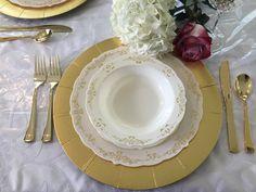 "Posh Party Supplies - 10"" Gold/Cream Heritage Plastic Dinner Plates - 10 Plates, $7.99 (http://www.poshpartysupplies.com/posh-products/elegant-plastic-wedding-and-paper-plates/10-gold-cream-heritage-plastic-dinner-plates-10-plates/)"