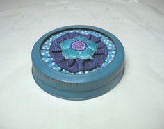 Polka Dot Fabric Mason Jar Canning Lid*Flower Decor*Blue Jean Yo Yo*Jar Lid Decoration*Canning Lid & Ring*Home Decor*Storage Jar Decoration* by CraftyGranny57 on Etsy