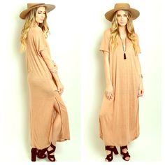 "RESTOCKED! Tan Maxi Shirt Cape Shirtdress NWOT BACK BY POPULAR DEMAND! These maxis tee dresses are AWESOME!  100% Linen  Sexy side slit, semi sheer  Availability: 3XS 6S 6M 3L These move FAST!  Measurements: Length 49"" Bust 38"" Waist 36""  Available in BLACK, BURNT ORANGE and TAN. This listing is for TAN. Striped semi Pleated Maxi Tunic Dress. Crochet Embellished. Marled. Shirt dress. linsleppo2 Dresses Maxi"