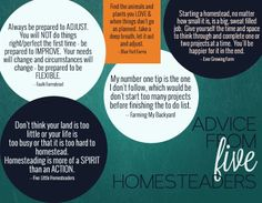 Tips and Advice from 5 Homesteaders #1 - make sure to read entire article for more info