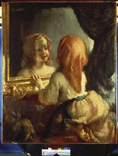 Jean-François Millet - Antoinette Herbert betrachtet sich im Spiegel