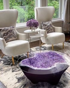 One captivating piece like this amethyst geode table can change the vibe in your. One captivating piece like this amethyst geode table can change the vibe in your home and enhance your energetic frequen. Living Room Goals, Living Room Decor, Living Area, Crystal Furniture, Crystal Room, Purple Interior, Crystals In The Home, Home Furniture, Funky Furniture