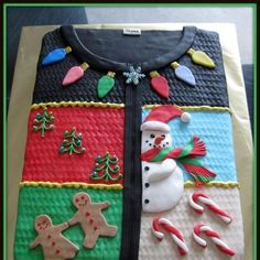 The perfect cake for your Ugly Christmas Sweater Party! @Jenine Juri Juri Demyen. Thought you might enjoy this
