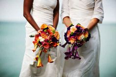Instead of doing the traditional bouquet throw, give your bouquet to the couple that has been married the longest.