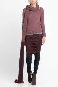 CLEMS - knitted cashmere jumper. HORIZON double layered skirt with twisting seams. HUMANOID WEBSHOP