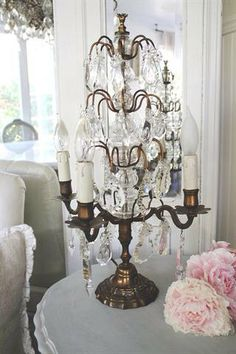 Vintage Crystal  Table Lamp Girandole by FullBloomCottage on Etsy, $995.00