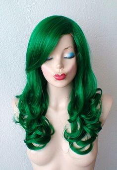 Green wig. Curly hair Chest length long side bangs by kekeshop