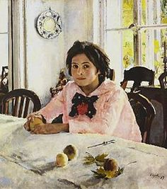 The girl with peaches (1887) was the painting that inaugurated Russian Impressionism ~ Valentin Alexandrovich Serov