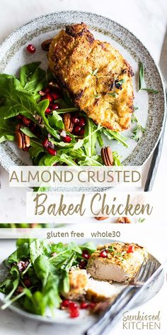 Almond and Herb Crus Almond and Herb Crusted Chicken / A almond flour coated baked chicken recipe packed with fresh herb flavors. Quick to make perfect for holidays! Good Healthy Recipes, Whole 30 Recipes, Paleo Recipes, Free Recipes, Kitchen Recipes, Amazing Recipes, Turkey Recipes, Crockpot Recipes, Healthy Foods