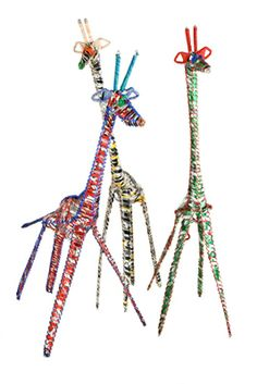 Recycled Pop Can Giraffe These are too cute. I can't believe they are made from recycled soda cans.