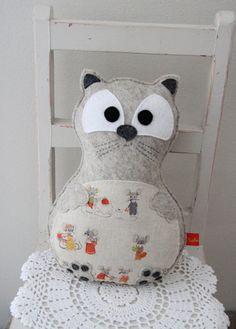 Cat felt softie in beige with mice stuffed animal toy by Plushka