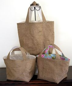 Sneak Preview ~ Burlap Eco Bags by Crafty Nature, via Flickr
