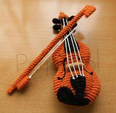 Amigurumi Guitarra Electrica : Viol?n de ganchillo, patron - Crochet Fiddle Violin ...