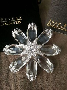 Extremely RARE Joan Rivers Classic Collection Snowflake Brooch Pin w Swarovski | eBay
