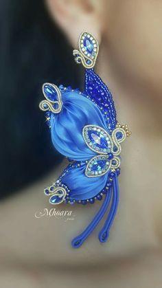 Blue butterfly earrings - shibori silk and soutache - by Mhoara Jewels