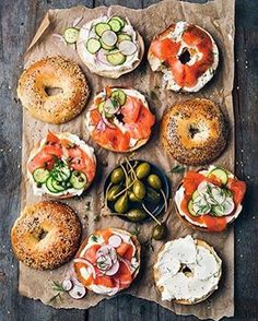 (Good) These are bagels! I am in awe of these bagels. The lox and cucumbers provide color and they perfectly balanced the toast of the bagel top, the cream cheese bagel, and the lox bagel. The earthy background makes these bagels look healthy and hearty. I Love Food, Good Food, Yummy Food, Tasty, Breakfast And Brunch, Breakfast Ideas, Brunch Bar, Brunch Food, Brunch Ideas