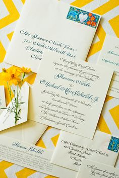 sapphire + yellow stationery suite|calder clark designs|heather forsythe photography