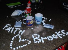 Elf on the Shelf spells out names in mini-marshmallows!