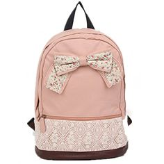 Coofit? Cute Lace Backpack College Style Leisure Canvas Gilr's Lovely Bow Rucksack(Pink) Coofit http://www.amazon.com/dp/B00MGQV0C8/ref=cm_sw_r_pi_dp_RnICwb1G468Q5