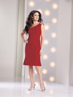 Fashion One Shoulder Knee Length Red Chiffon Sheath Column Mother Of The Bride Dress