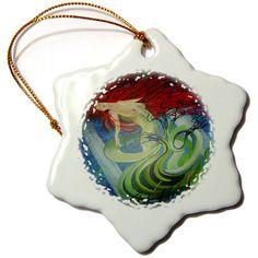 3dRose orn_46898_1 Sea Goddess-Blue, Fantasy, Mermaid, Mythological, Ocean Nymph, Redhead, Sea Nymph-Snowflake Ornament, 3-Inch, Porcelain 3dRose http://www.amazon.com/dp/B007ZSZ91K/ref=cm_sw_r_pi_dp_1-fowb0XKZQBB