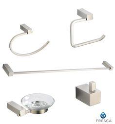 Fresca Ottimo Bathroom Accessories 5-Piece Bathroom Accessory Set Brushed Nickel