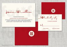 Printable Red Knot Double Happiness Chinese Wedding Invitation | Custom Modern Stylish Simple Oriental Wedding Invite PRINTED / jpg / pdf by fatfatin