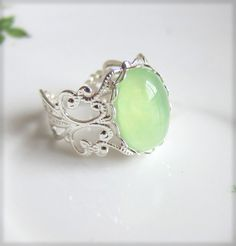 Mint Ring Light Green Apple Green Pastel Pale Lime Ring Silver Filigree Exotic Whimsical lotr Inspired Lord of the Rings THE LORD OF THE RINGS
