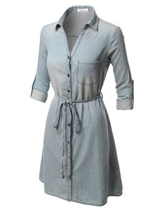 Like an oversized shirt, this chambray button down shirt dress with belt is on trend-versatile. This dress is left straight and loose for a relaxed vibe but for a more flattering slimmer silhouette lo