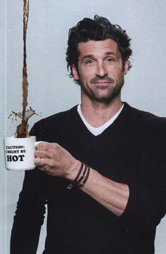 Patrick Dempsey and coffee?Well my morning is complete! Men Coffee, I Love Coffee, Coffee Art, But First Coffee, Coffee Break, Sullivan Patrick Dempsey, Cafe Rico, People Drinking Coffee, Coffee Poster
