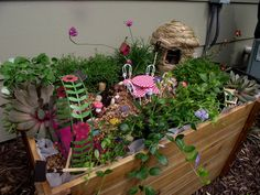 """Pinner says, """"Here is a fairy garden that my kids and I put together.  I got the supplies from Hobby Lobby and a local store that sells gardening knick-knack stuff.  My daughter cannot wait for the """"fairies"""" to show up."""""""