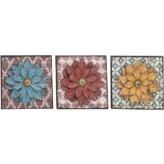 Decmode Metal Wall Flower, Multi Color, Multicolor
