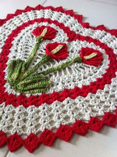18 trendy Ideas for crochet heart blanket simple Motif Mandala Crochet, Crochet Doilies, Easy Crochet, Crochet Flowers, Crochet Lace, Crochet Hooks, Crochet Applique Patterns Free, Baby Knitting Patterns, Crochet Stitches