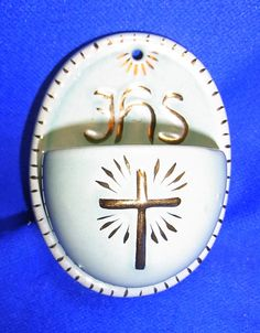 Vintage German Art Pottery Christianity HOLY WATER FONT Wall Ornament #CA14