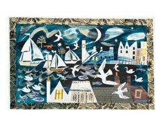 """Night Harbour"" by Mark Hearld (collage)"