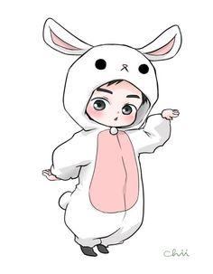 Suho the Adorable Bunny Kpop Exo, Suho Exo, Chibi Exo, Anime Chibi, Exo Cartoon, Exo Stickers, Exo Anime, Exo Fan Art, Kim Jongdae