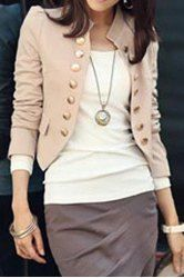 Stylish Stand-Up Collar Long Sleeve Double-Breasted Women's Blazer