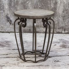 Anina Hammered Iron Accent Table