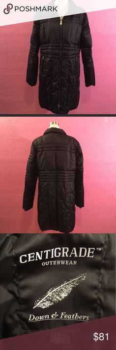 Down Winter coat.  Black knee length  no hood Down Winter coat.  Black knee length  no hood Centigrade Jackets & Coats