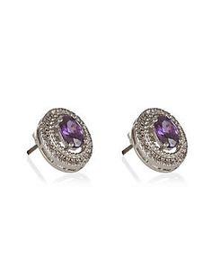 Purple Platinum Plated Sparkle Oval Stone Stud Earrings