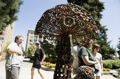 A large mushroom shaped sculpture made from chain and old faucet heads by the Bergman family from Cedar Creek, Inc. in Amboy, was on display at the Recycled Arts Festival, Saturday, June 27, 2009. (The Columbian/Steven Lane)