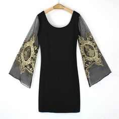 Voile Splicing V-Neck Sexy Style Ninth-Minute Sleeves Slimming Women's DressVintage Dresses   RoseGal.com